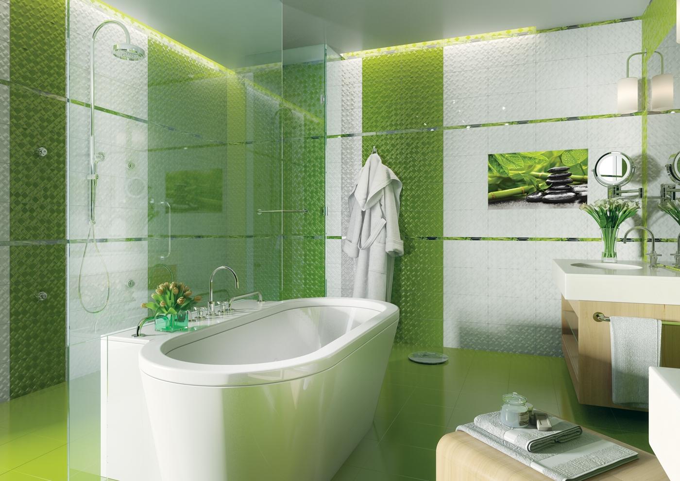 Керамическая плитка для ванной - фото (23)