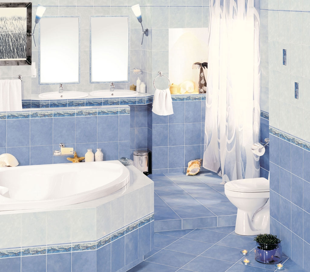 Керамическая плитка для ванной - фото (87)