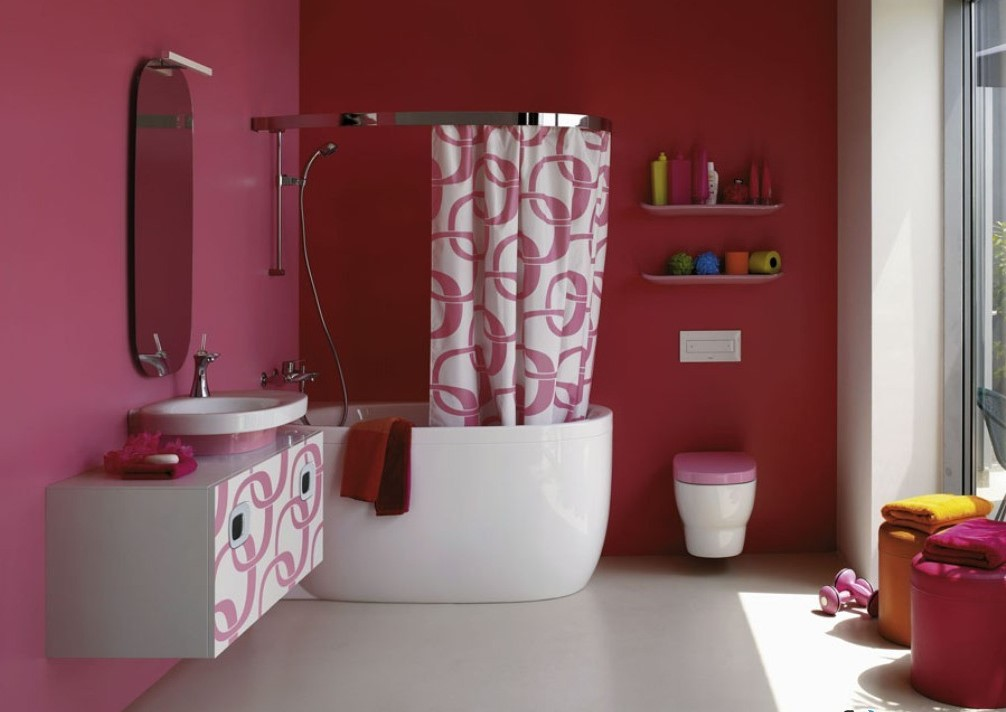 современное окрашивание стен в ванной