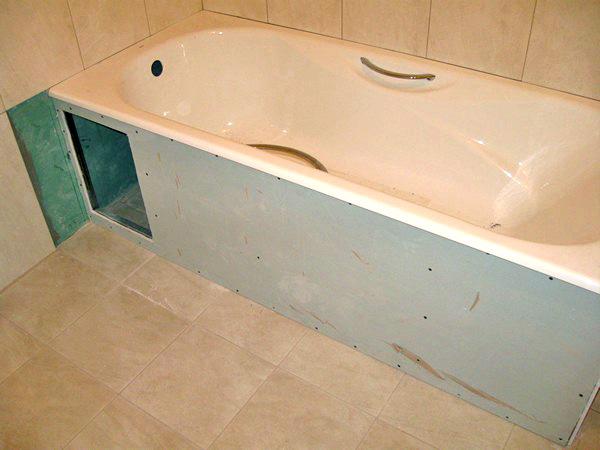 гипсокартон для экрана под ванну