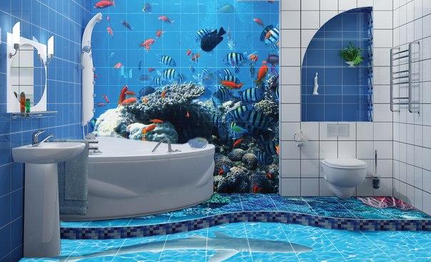 панно из плитки в ванной комнате
