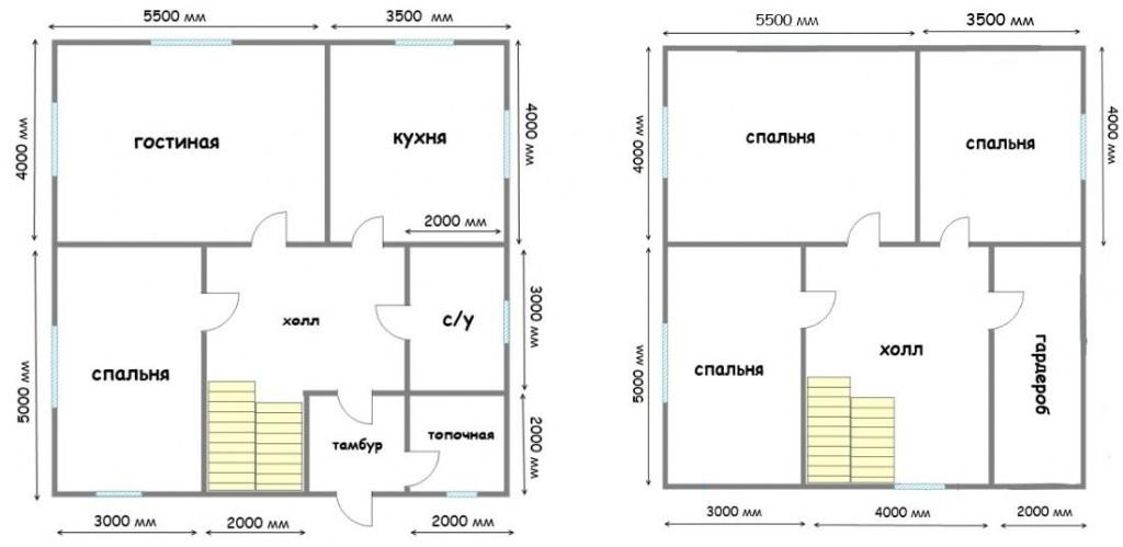 Планировка дома 9x9