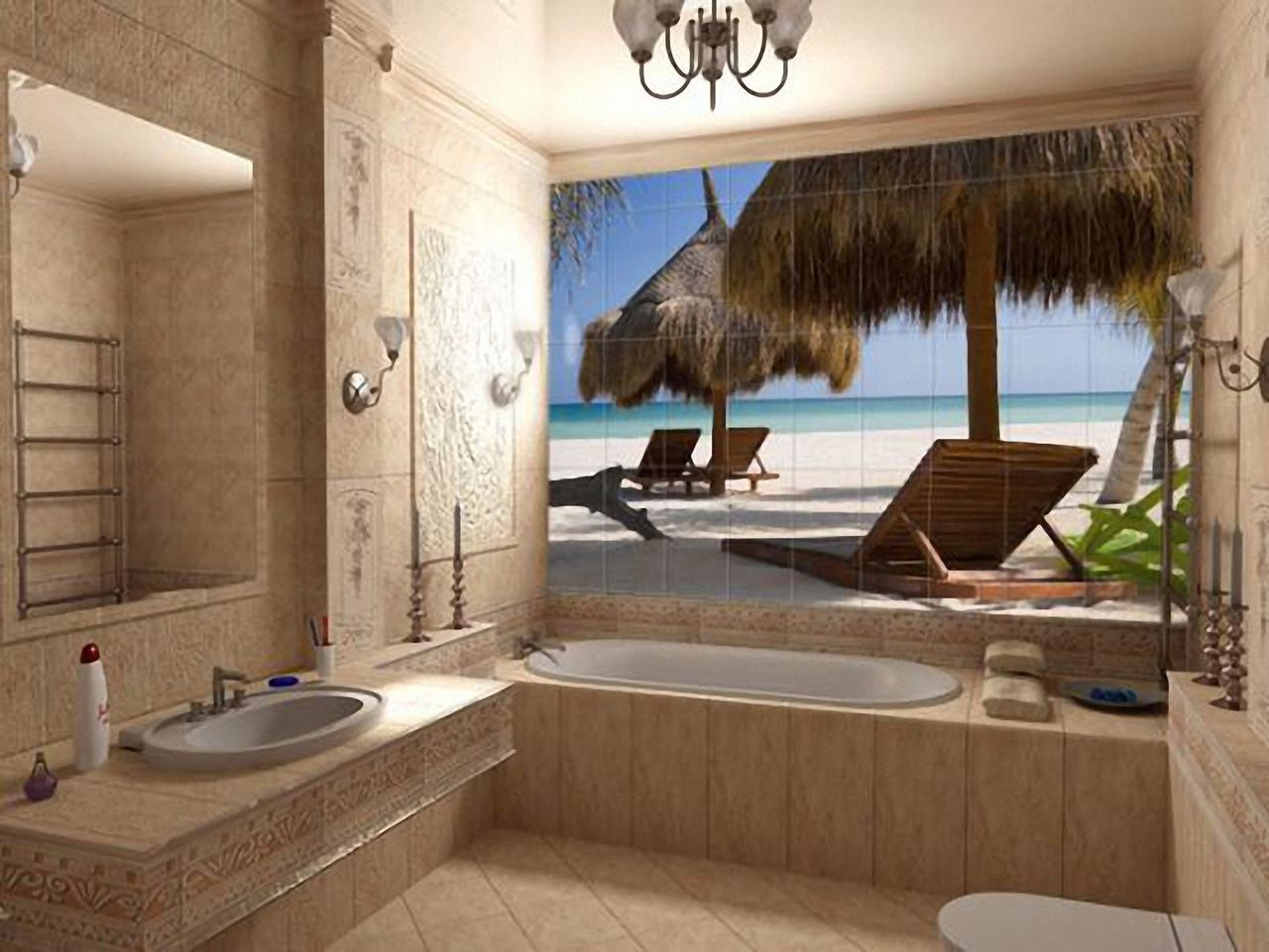 Дизайн ванны с морем