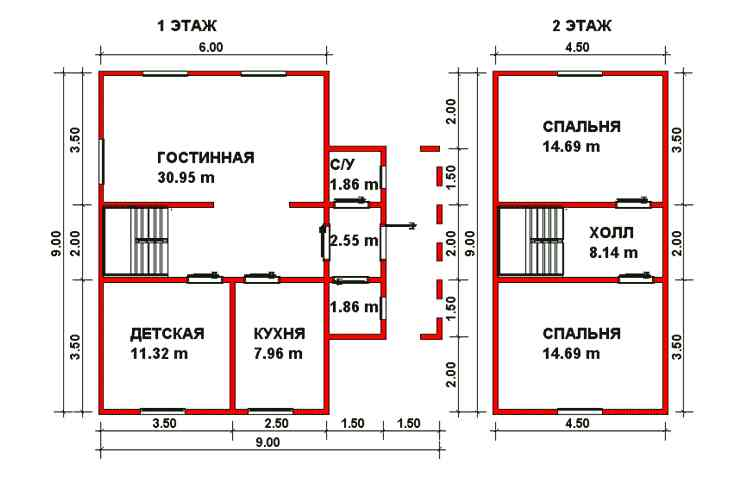 Планировка дома 6x9
