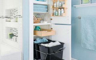 Как организовать ванную комнату с помощью ящиков для хранения вещей