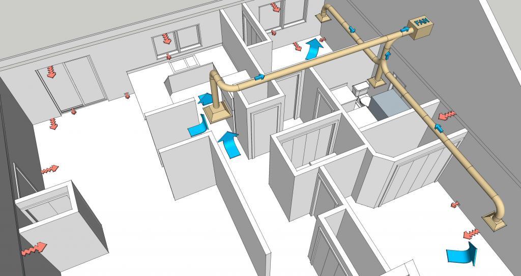 Вентиляция в доме из газобетона. Санузел (видео)