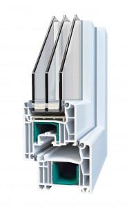 Оконный профиль с двухкамерным стеклопакетом