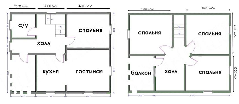 Планировка дома 8x10