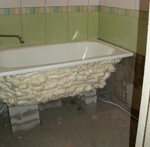 Как установить металлическую ванну